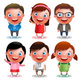 Los muchachos y las muchachas de los caracteres del vector de los niños fijaron con sonrisa feliz y diversos equipos Foto de archivo