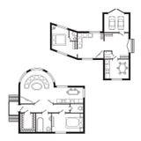 Los muebles del plan arquitectónico de la oficina y el dibujo de estudio interiores modernos de la construcción proyectan stock de ilustración