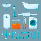 Los muebles del retrete y del cuarto de baño, el tubo y diverso equipo para el fontanero funcionan libre illustration
