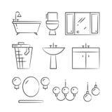 Los muebles y la iluminación del cuarto de baño dan la línea exhausta iconos ilustración del vector