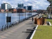 Los muelles panorama, Salford, Manchester Imagen de archivo