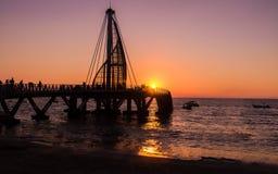 Los Muertos Pier at sunset - Puerto Vallarta, Jalisco, Mexico. Los Muertos Pier at sunset in Puerto Vallarta, Jalisco, Mexico Stock Image