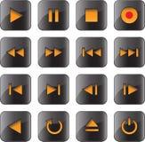 Los multimedia controlan el conjunto brillante del icono Fotografía de archivo