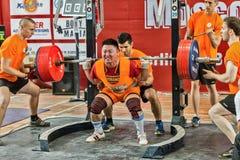 Los 2014 mundiales powerlifting AWPC en Moscú Foto de archivo libre de regalías