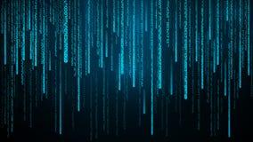 Los n?meros azules fluyen Ciberespacio con las l?neas digitales que caen Ejemplo abstracto del vector del fondo de la matriz libre illustration