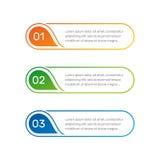 Los números coloridos de Infographic a partir de la 1 a 3 y las columnas del texto vector el ejemplo Imagen de archivo libre de regalías