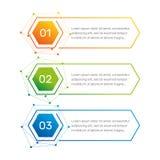 Los números coloridos de la forma del hexágono de Infographic a partir de la 1 a 3 y las columnas del texto vector el ejemplo Foto de archivo libre de regalías