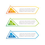 Los números coloridos de la forma triangular de Infographic a partir de la 1 a 3 y las columnas del texto vector el ejemplo Fotos de archivo