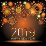 Los números 2019 de la Feliz Año Nuevo con los fuegos artificiales coloridos diseñan Imagenes de archivo