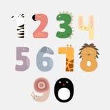 Los números de la historieta les gusta animales Foto de archivo