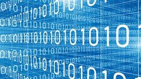 Los números de la tecnología digital de los datos atraviesan 4K azul ilustración del vector