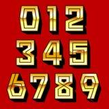 Los números de oro y la sombra en backgrond rojo vector el ejemplo Foto de archivo libre de regalías