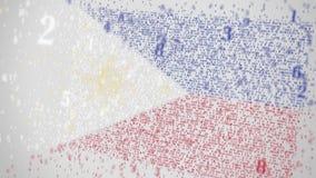 Los números descendentes componen la bandera de FILIPINAS Animación relacionada con la TI nacional 3D de la tecnología de la info stock de ilustración