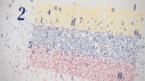Los números descendentes componen la bandera de Venezuela Animación relacionada con la TI nacional 3D de la tecnología de la info stock de ilustración