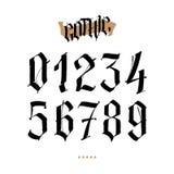 Los números están en el estilo gótico Vector Símbolos aislados en el fondo blanco Caligrafía y letras Figuras medievales ilustración del vector