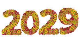 Los números 2029 hicieron de las flores de los Zinnias Imagenes de archivo