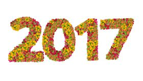 Los números 2017 hicieron de las flores de los Zinnias Foto de archivo libre de regalías