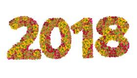 Los números 2018 hicieron de las flores de los Zinnias Imagen de archivo