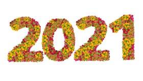 Los números 2021 hicieron de las flores de los Zinnias Imagenes de archivo