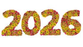 Los números 2026 hicieron de las flores de los Zinnias Fotos de archivo libres de regalías