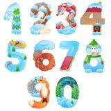 Los números a partir de la 1 a 0 como invierno se oponen con nieve Imágenes de archivo libres de regalías