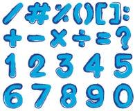 Los números y firman adentro color azul Fotos de archivo libres de regalías