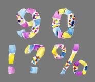 Los números 9, 0 y pregunta y marcas del collage de exclamación hicieron de ilustración del vector
