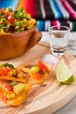 Los Nachos saltan con la cal y la sal del tequila de las verduras Imagen de archivo libre de regalías