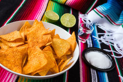 Los Nachos saltan en una cal y una sal del tequila del cuenco Imágenes de archivo libres de regalías