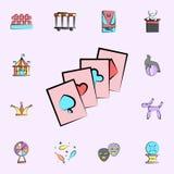 Los naipes colorearon el icono sistema universal de los iconos del circo para la web y el móvil stock de ilustración