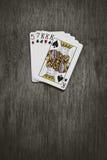 Los naipes viejos recogieron de una combinación de póker Foto de archivo libre de regalías