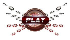 Los naipes y las fichas de póker vuelan el botón de reproducción del casino concepto en el fondo blanco Ejemplo del casino del pó libre illustration