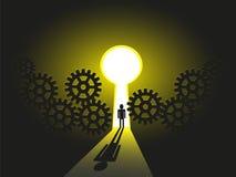 Los negocios hombre viaje hacia el éxito, solución su futuro de la carrera Imagen de archivo libre de regalías
