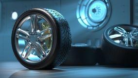 Los neumáticos de coche alean las ruedas stock de ilustración