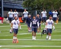 Los New England Patriots llevan el campo de la práctica Imagen de archivo