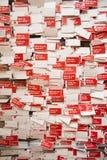 ¿Los Ángeles, California, los E.E.U.U., el 24 de mayo de 2015, museo de Getty, el pedir rojo de las etiquetas qué usted espera? Imagen de archivo libre de regalías