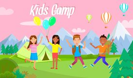 Los niños acampan el acampar feliz de los niños de la bandera horizontal stock de ilustración