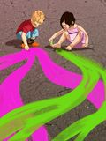 Los niños acometen en el asfalto ilustración del vector