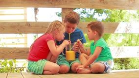 Los niños beben el zumo de naranja metrajes