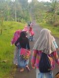los niños caminan al caer la tarde fotos de archivo libres de regalías