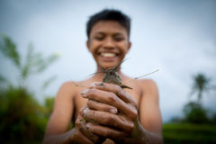 Los niños cogen pequeños pescados en una zanja foto de archivo libre de regalías
