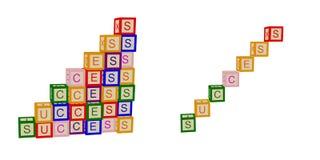 Los niños colorean los cubos con las letras éxito Para el negocio y la vida escaleras Vector stock de ilustración