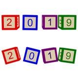 Los niños colorean los cubos con las letras 2019 años stock de ilustración