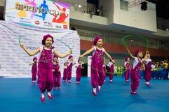 Los niños compiten en la competencia internacional de la danza de SpringCup Foto de archivo