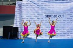 Los niños compiten en la competencia internacional de la danza de SpringCup Imagen de archivo