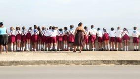 Los niños cubanos lanzan las flores en el agua en el Malecon almacen de metraje de vídeo