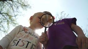 Los niños curiosos con la lupa al aire libre que busca objetos de la investigación en sol se encienden metrajes