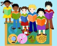 Los niños de diversas razas con los libros en manos acercan al tablero ilustración del vector