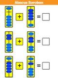 Los niños de Soroban del ábaco aprenden números con el ábaco, hoja de trabajo de la matemáticas para el ejemplo del vector de los ilustración del vector