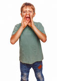 Los niños del adolescente del muchacho que llamaban gritos de los gritos abrieron el suyo imagen de archivo libre de regalías